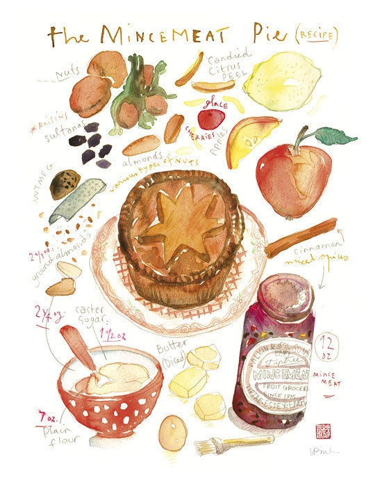 Christmas recipe poster Mincemeat pie recipe - 11X14 print No 2/50 Food art Kitchen print