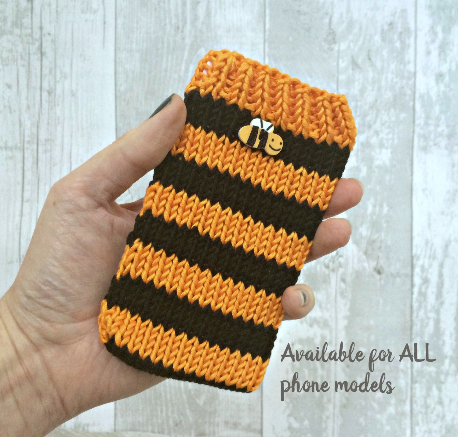 Orange Bee iPhone Case Knitted iPhone Case Vegan Mobile Phone Cosy iPhone 4 iPhone 5 iPod touch cover iPod 6 Sleeve iPod 5 Sock