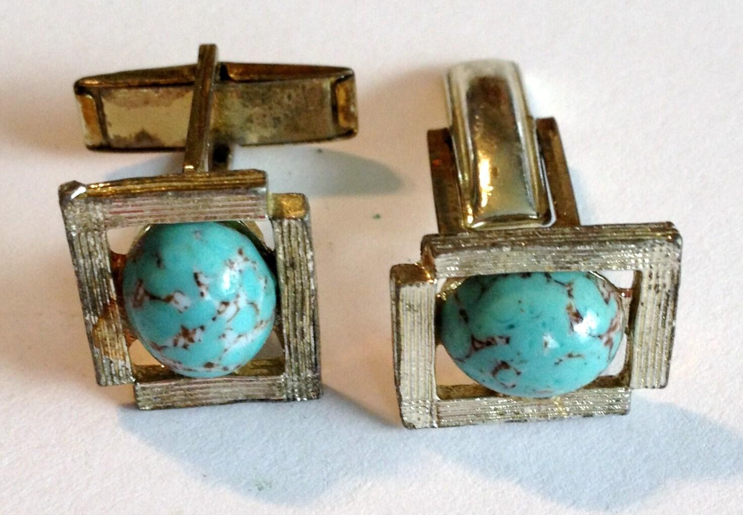 Vintage Turquois Robin Egg Cufflinks FREE SHIPPING - ArtByBurton