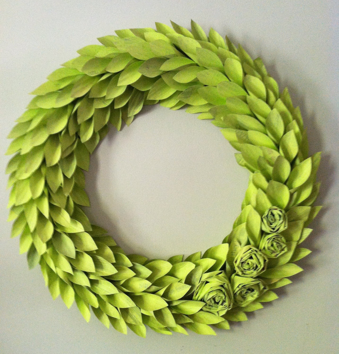 chartreuse modern wreath - lime painted newspaper - large 22 inch newspaper rosette and leaf