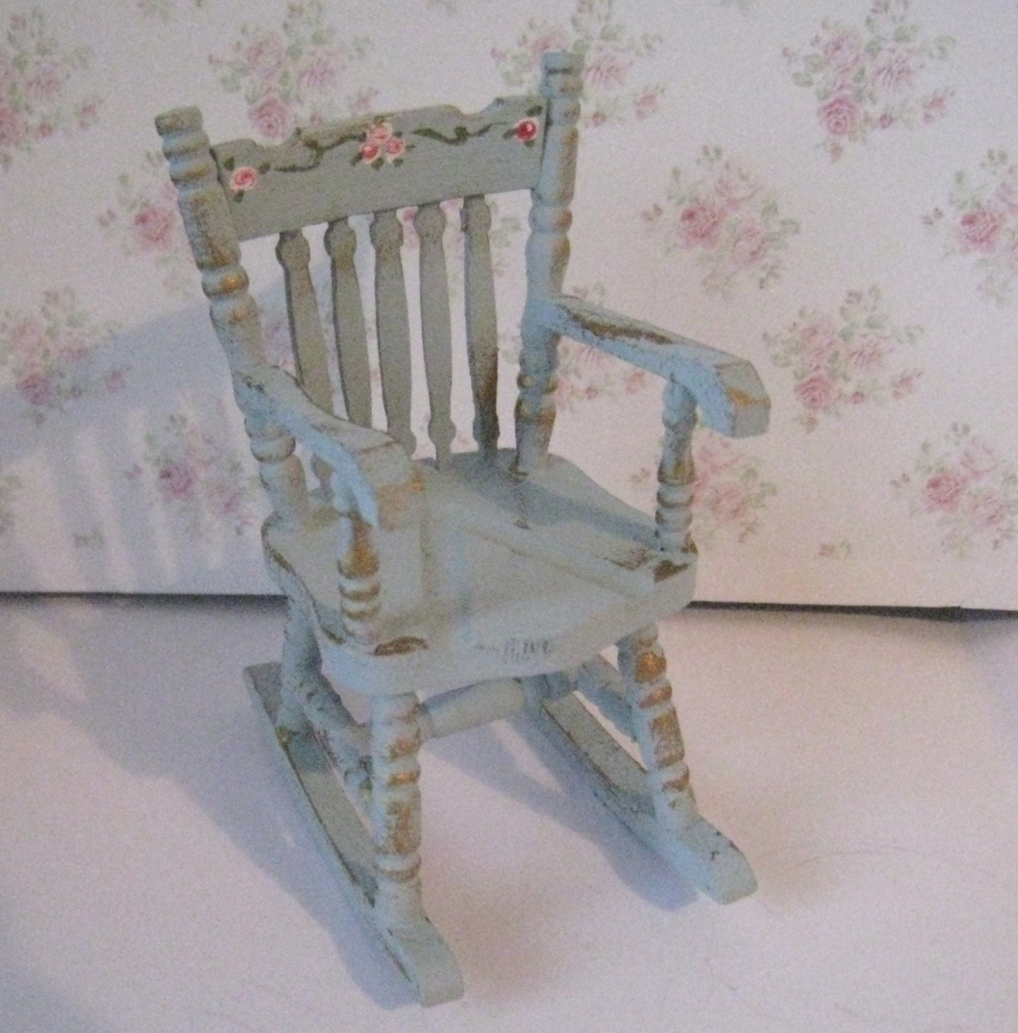 Rocking chair shabby chic duck egg blue. by Insomesmallwayminis