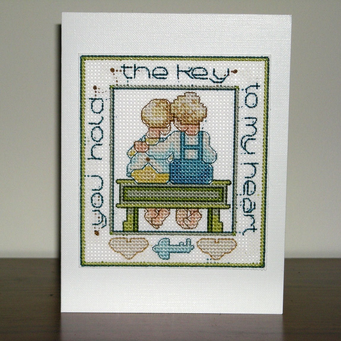 Key to my Heart - Love Valentines Hearts couples Handmade Cross-Stitched card