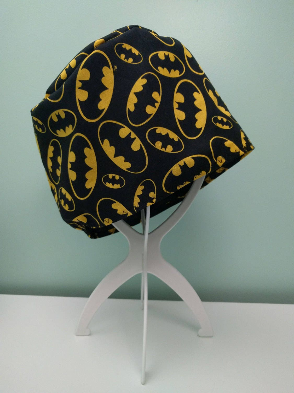 Custom theatre scrub hat (elasticated back)  Batman emblem on black with black satin inner lining
