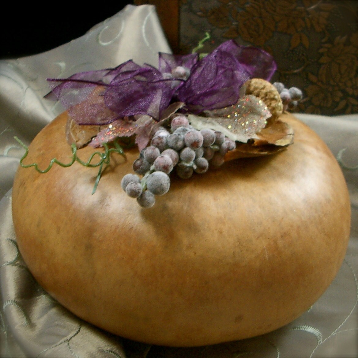 Decorative Natural Gourd for your Table with grape clusters - mymandycrafts