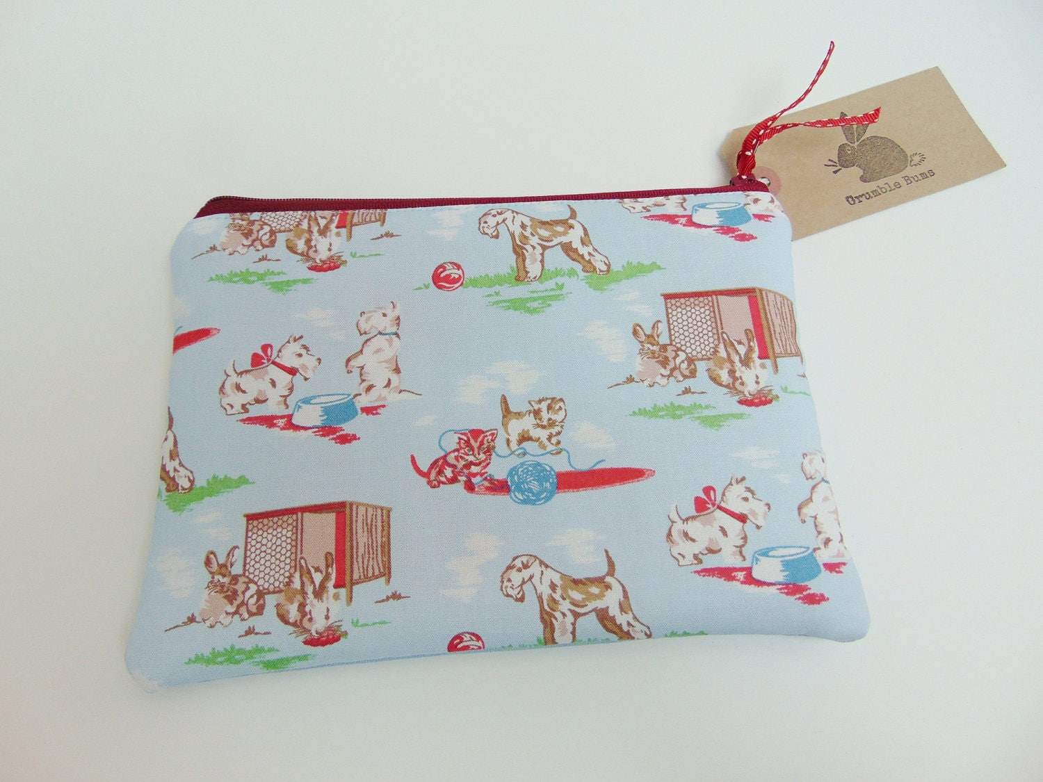 Handmade Cath Kidston Animals Fabric Makeup Bag Rare Vintage Print Westie Dogs Kitsch Rabbits Padded Pouch