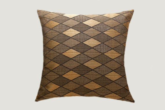 Gold Brown Throw Pillows : Decorative Brown Gold fabric Throw pillow cover with by svetastyle