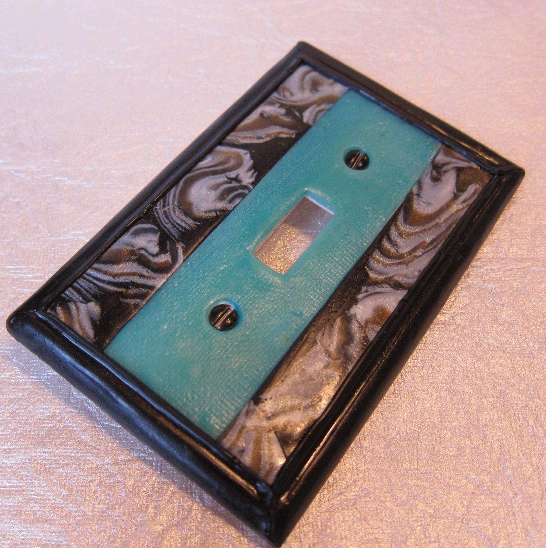 Art deco aqua blue retro light switch plate by marieyoungcreative - Art deco switch plate covers ...
