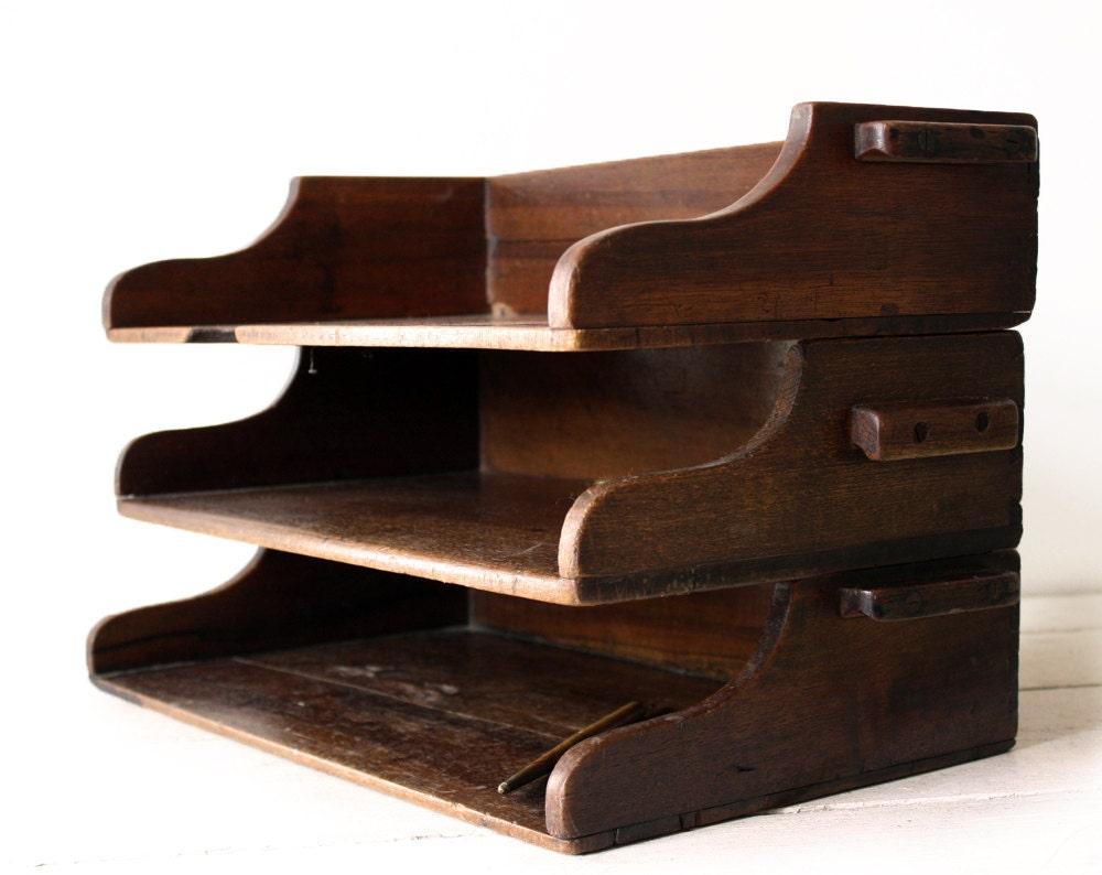 Antique french wooden desk organizer drawer file by - Wood desk organizer with drawers ...