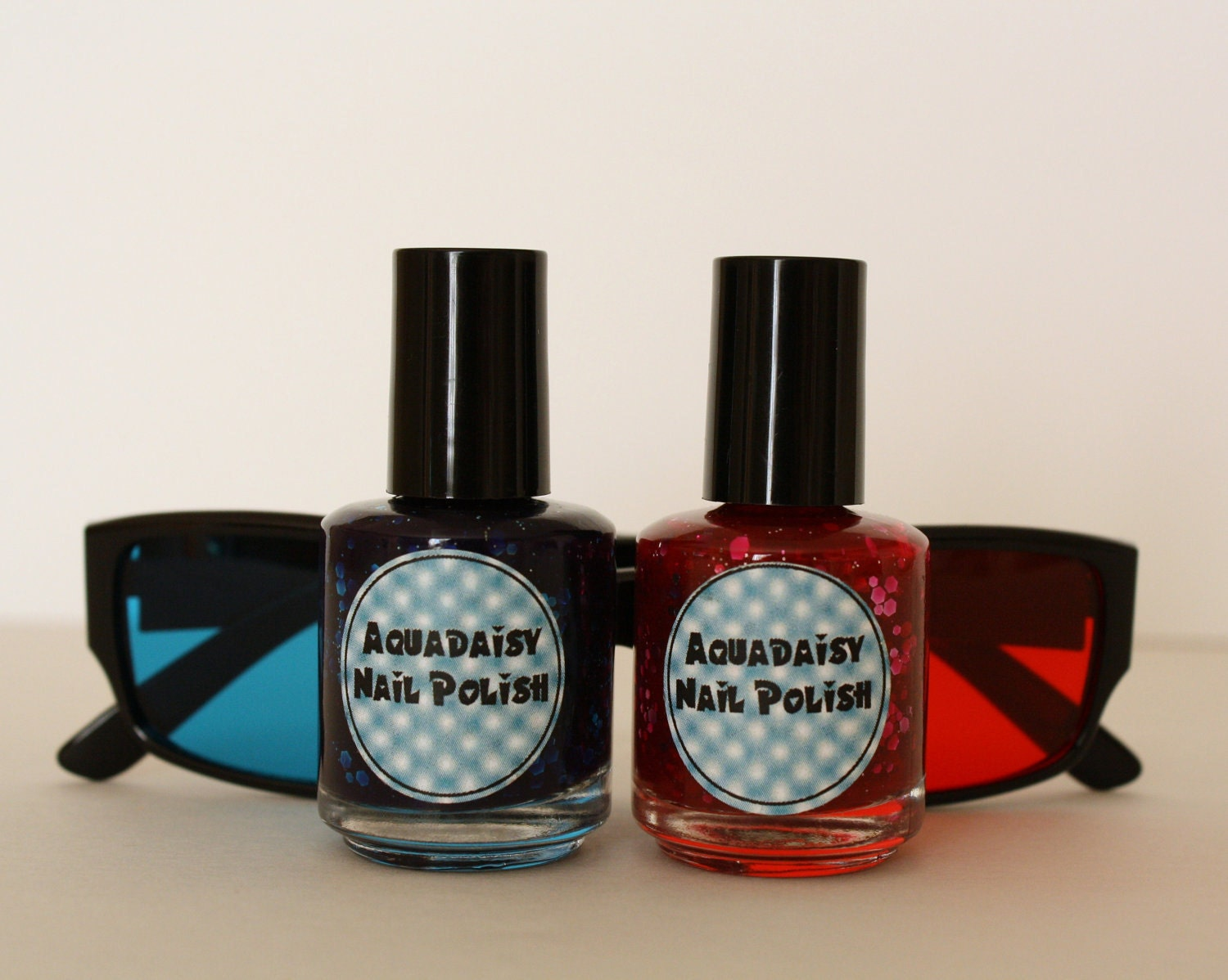 Red and Blue glitter jelly nail polish 3D Glasses set of 2