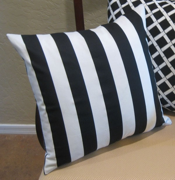 Black And White Striped Throw Pillows : Black and White Striped Throw Pillow Cover by PillowPeels on Etsy