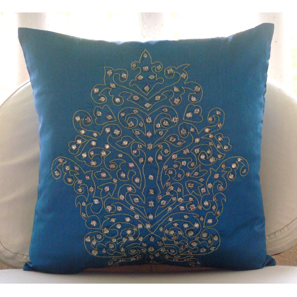 Decorative throw pillow covers 16x16 silk by thehomecentric for Royal blue couch pillows