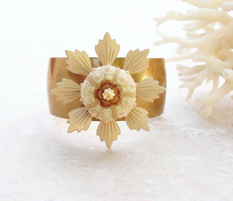 Sputnik Sea Urchin Cuff Enamel Vintage Flower Bracelet - StaroftheEast