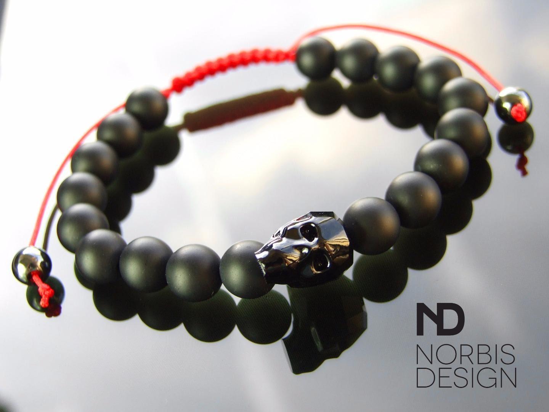 Mens Onyx Red Macrame Swarovski Skull Bracelet 78 Inch Elasticated Healing Stone With Pouch FREE UK SHIPPING