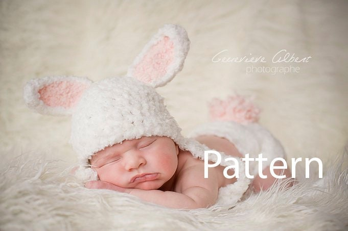 Crochet Pattern For Newborn Bunny Hat : Crochet Baby Hat Pattern Newborn 3 Months Bunny by ...