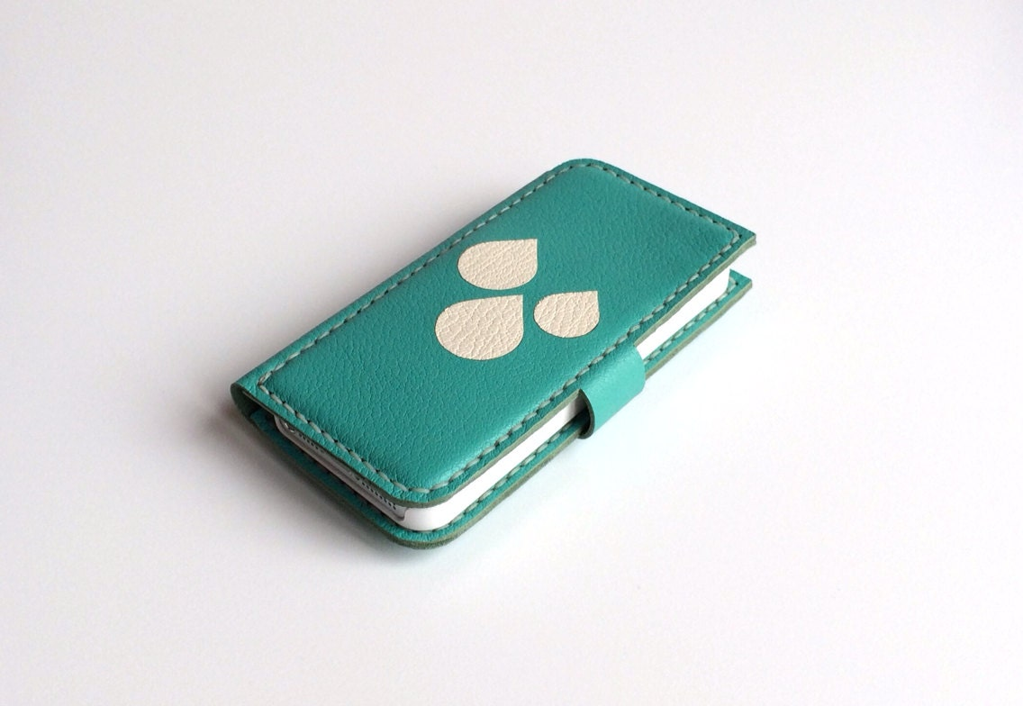Leather iPhone Case Leather iPhone Wallet iPhone Pouch / for iphone 5/5S, 5C, 4/4S / Turquoise and Blob Theme / Phone Case Phone Wallet - sukriyeozcandesigns