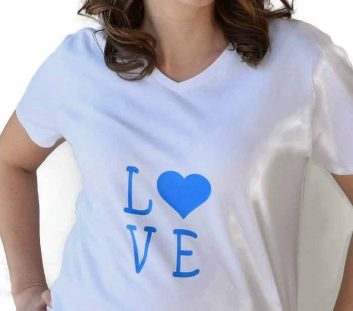 Love shirt made with blue vinyl and a white shirt.  Valentines - classicchoices