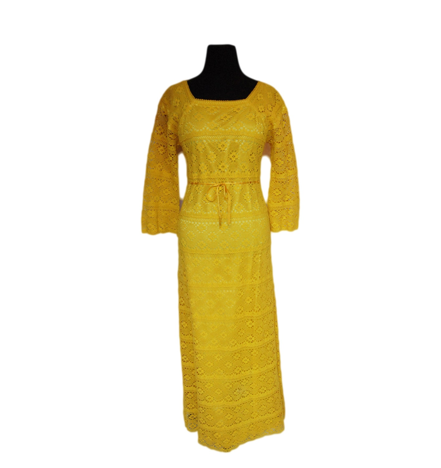 Vintage 1960s Mexican Wedding Dress Bright Yellow Hand Crochet