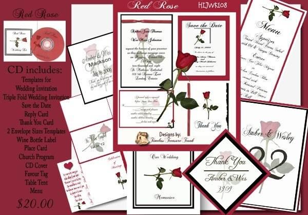 Delux Red Rose Wedding Invitation Kit on CD