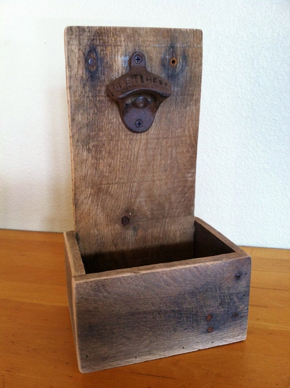 Rustic Beer Bottle Opener & Cap Catcher, Reclaimed Wood, Handmade - GreatLakesReclaimed