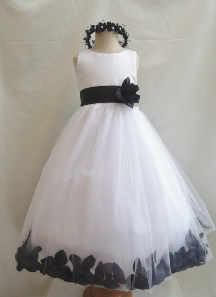 Black Rose Wedding Dresses : Girl dresses white with black rose petal dress fd pt wedding