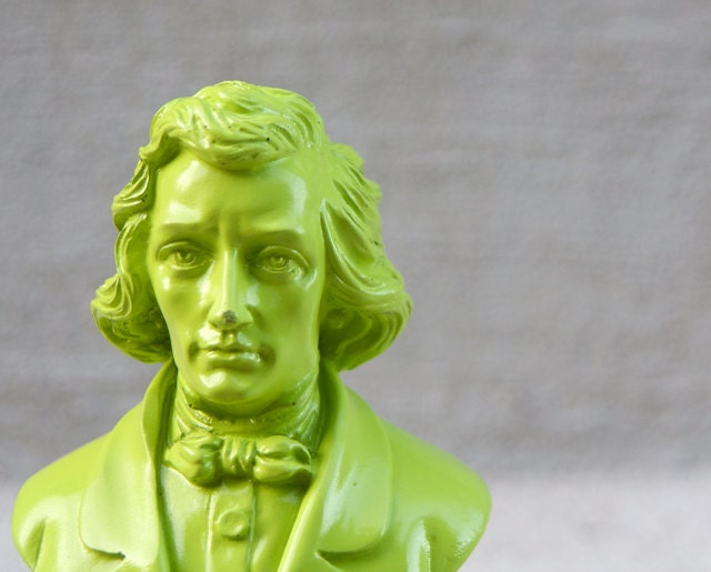 Lime Green Chopin Figurine Statue - Pop Art Decor - RetroPops