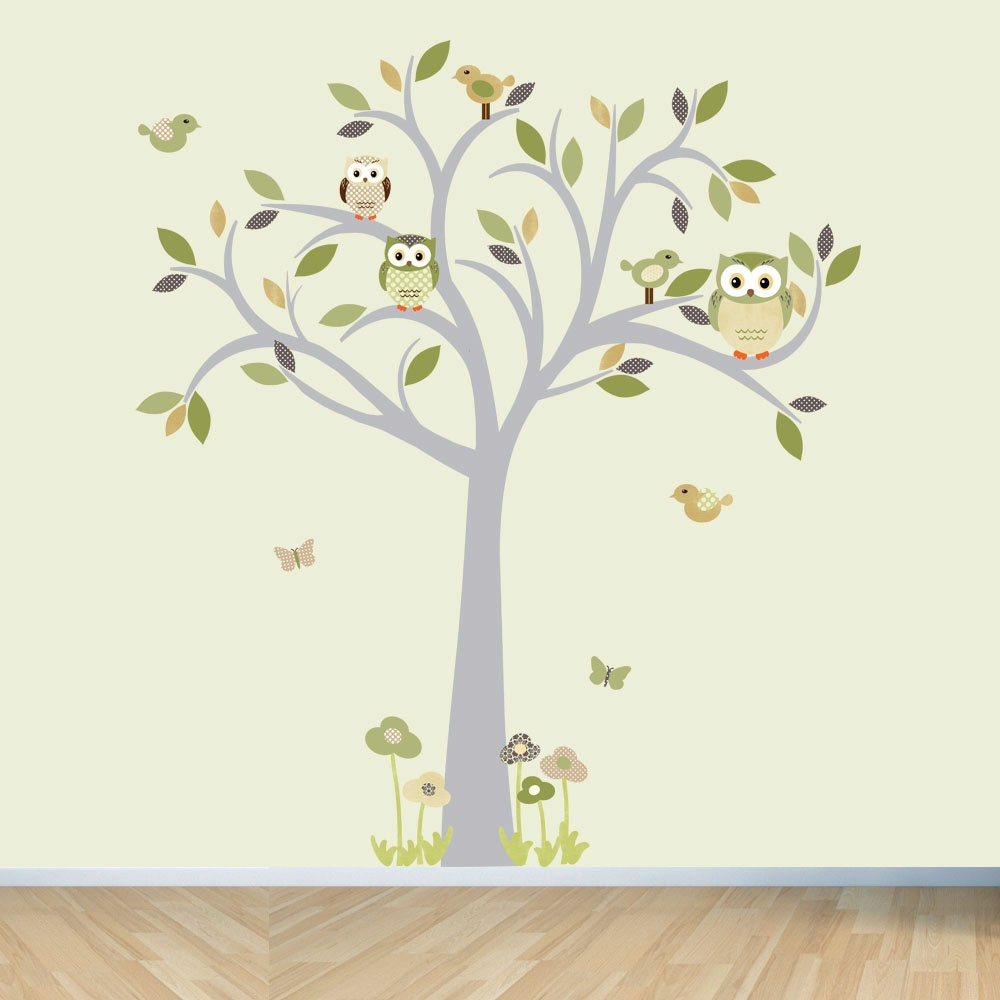 owl decal owl tree wall sticker moss and by stickitdecaldesigns