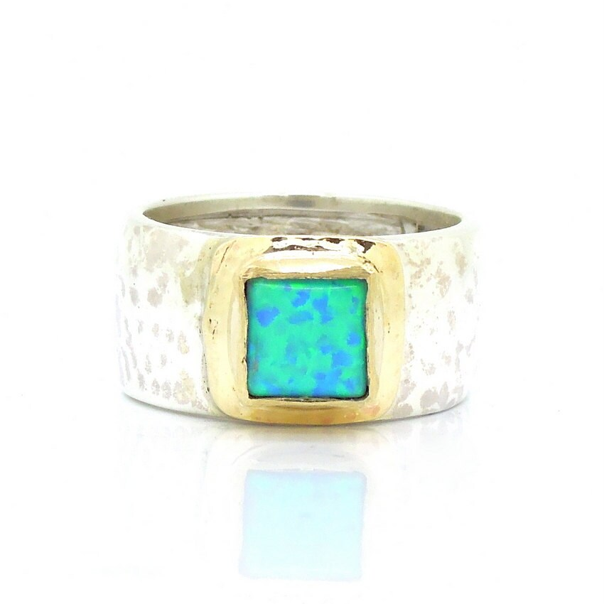 Opal Ring Set In Gold With Hammered Sterling Silver