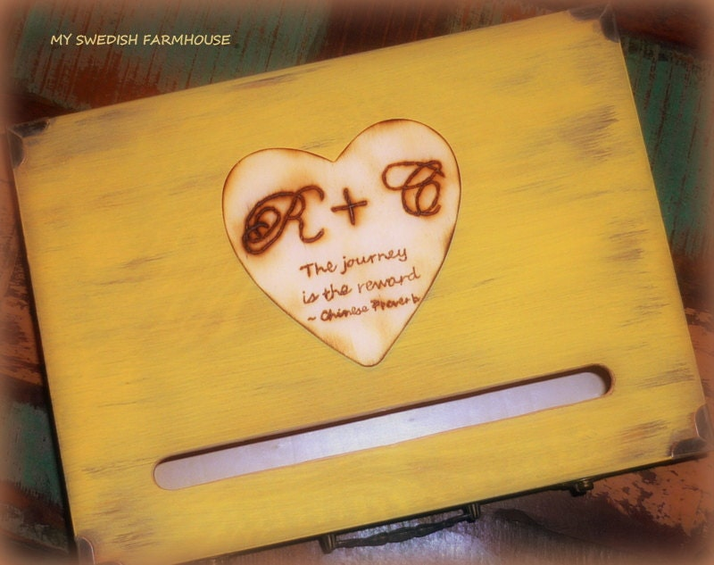 Card box love letter ceremony box rustic by minsvenskalandgard for Love letter wedding ceremony