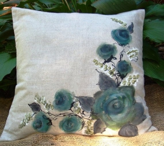 Hand painted  17'' pillow cover ( cherry blossom, roses, Sticks) - creativedesignsstore