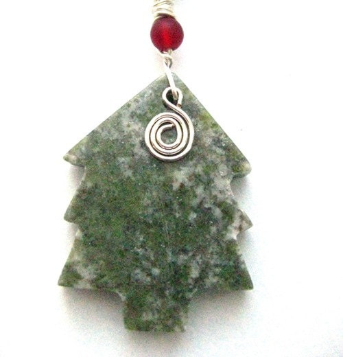 Connemara Marble Decoration. Irish Tree Ornament. Green Red and Silver
