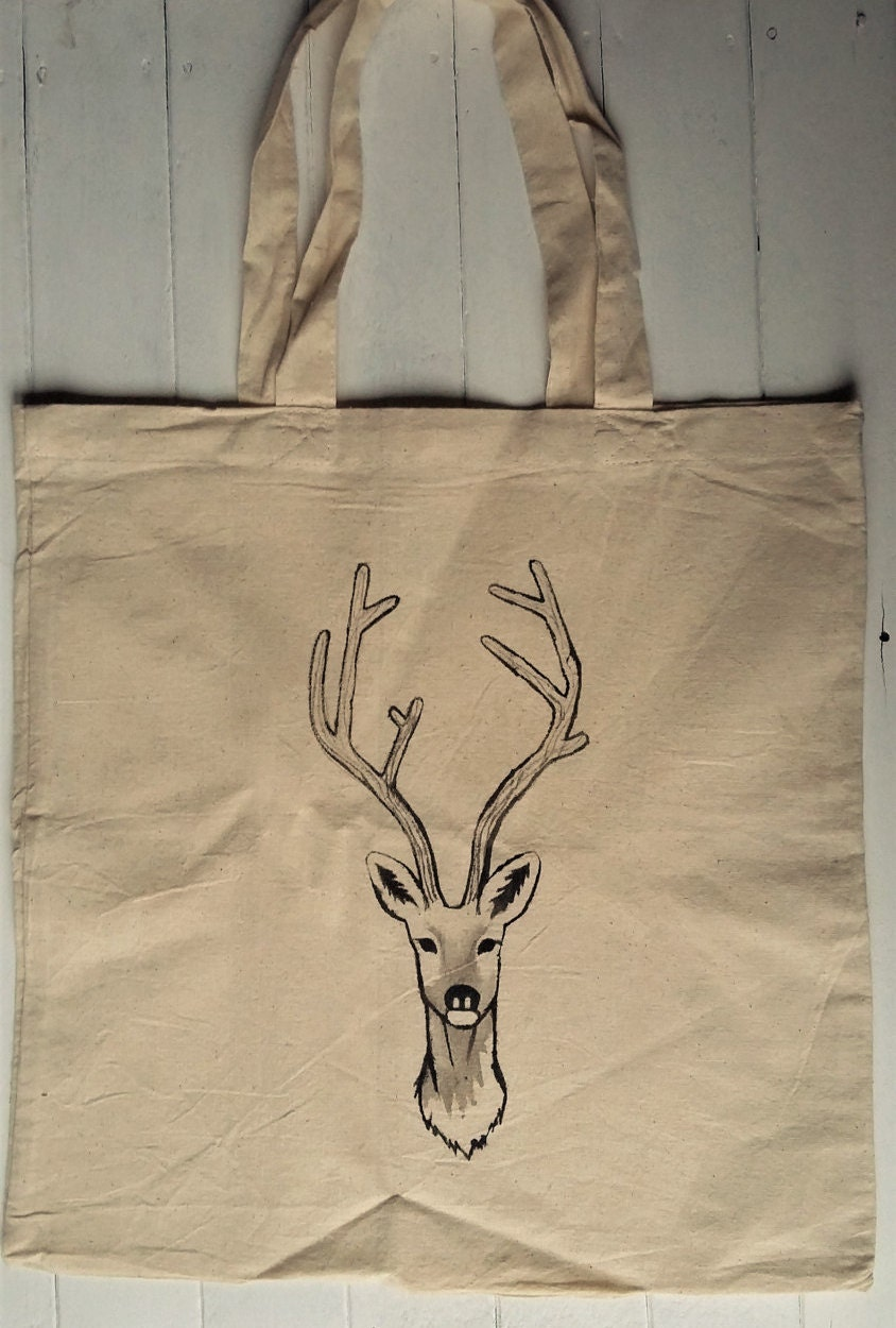 Reindeer Print Canvas Bag  Hand Painted Wildlife Accessories  Recycled Cotton Tote Bag