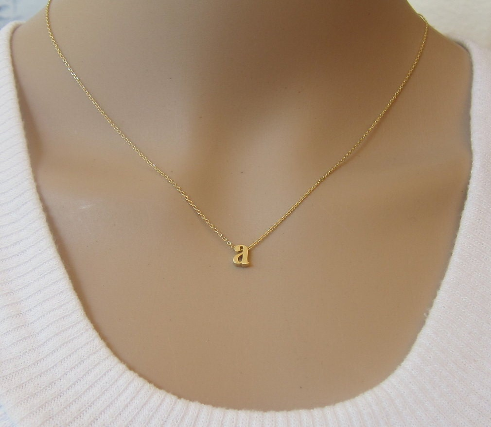 Gold filled lowercase initial necklace gold by for Lowercase letter necklace