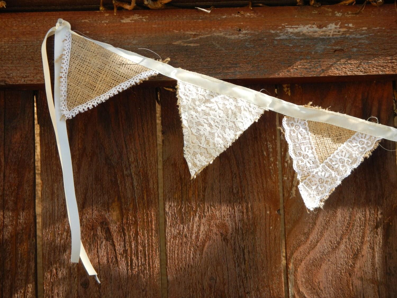 Burlap and Lace Garland, Flag Garland, Bunting, Wedding Decoration ...