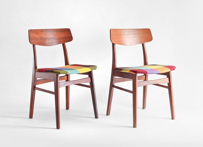 Items similar to vintage teak wood chairs mid century for Mid century modern dining chairs vintage