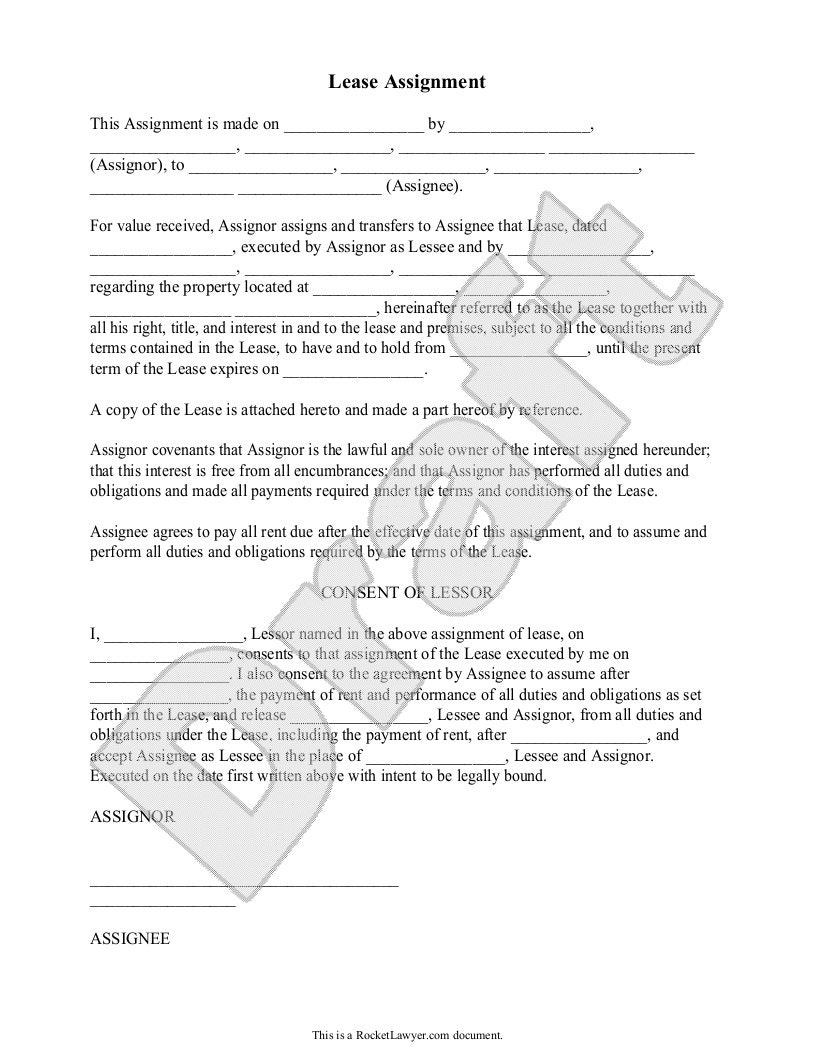 assignment of the lease