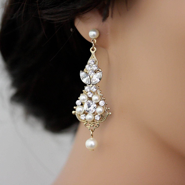 Gold Wedding Earrings Chandelier Earrings Vintage By Lulusplendor