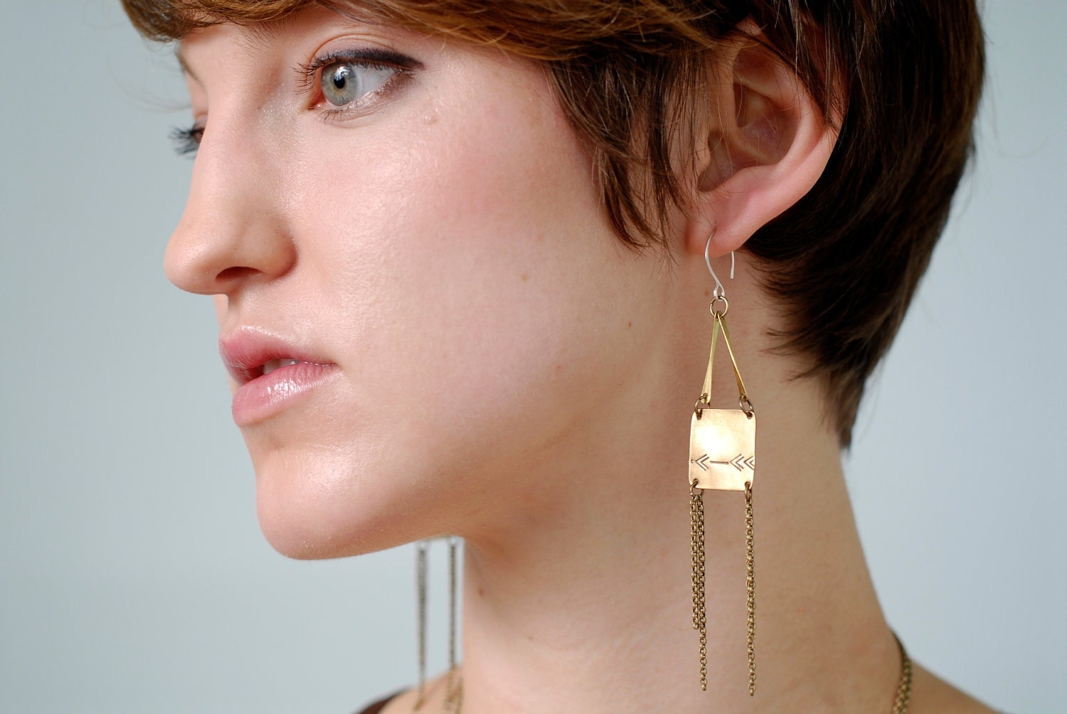 Sights are Set Brass Square and Arrow Earrings