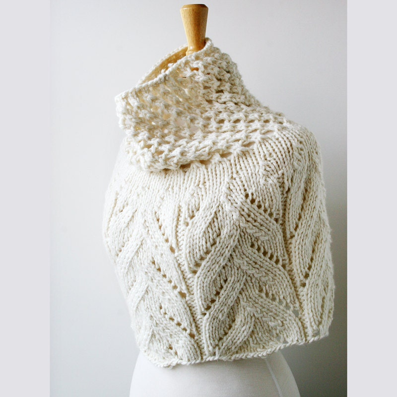 Women's Fashion - Elegant Merino Wool Knit Capelet - Ivory White - ElenaRosenberg