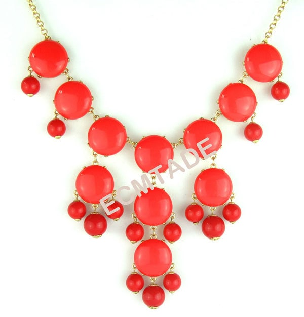 2012 latest Color Bubble BIB Statement Fashion Necklace - Coral Red  - christmas gift