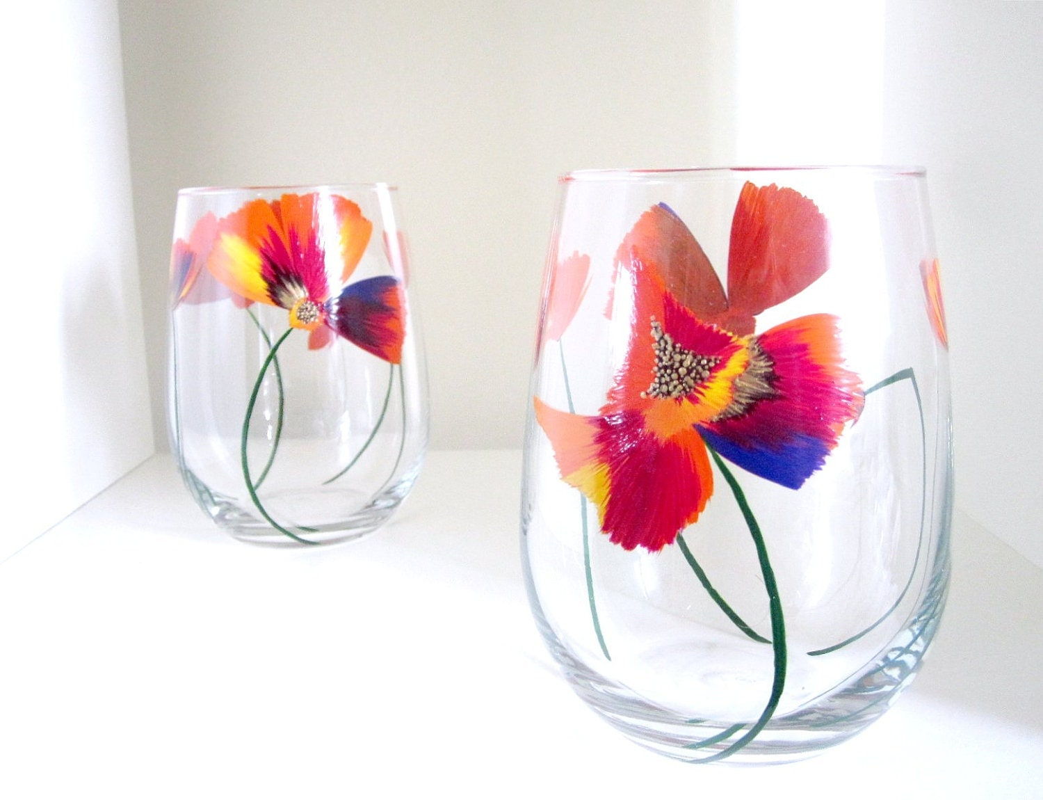 2 drinking glasses hand painted wine set color splash by meku for Hand painted drinking glasses