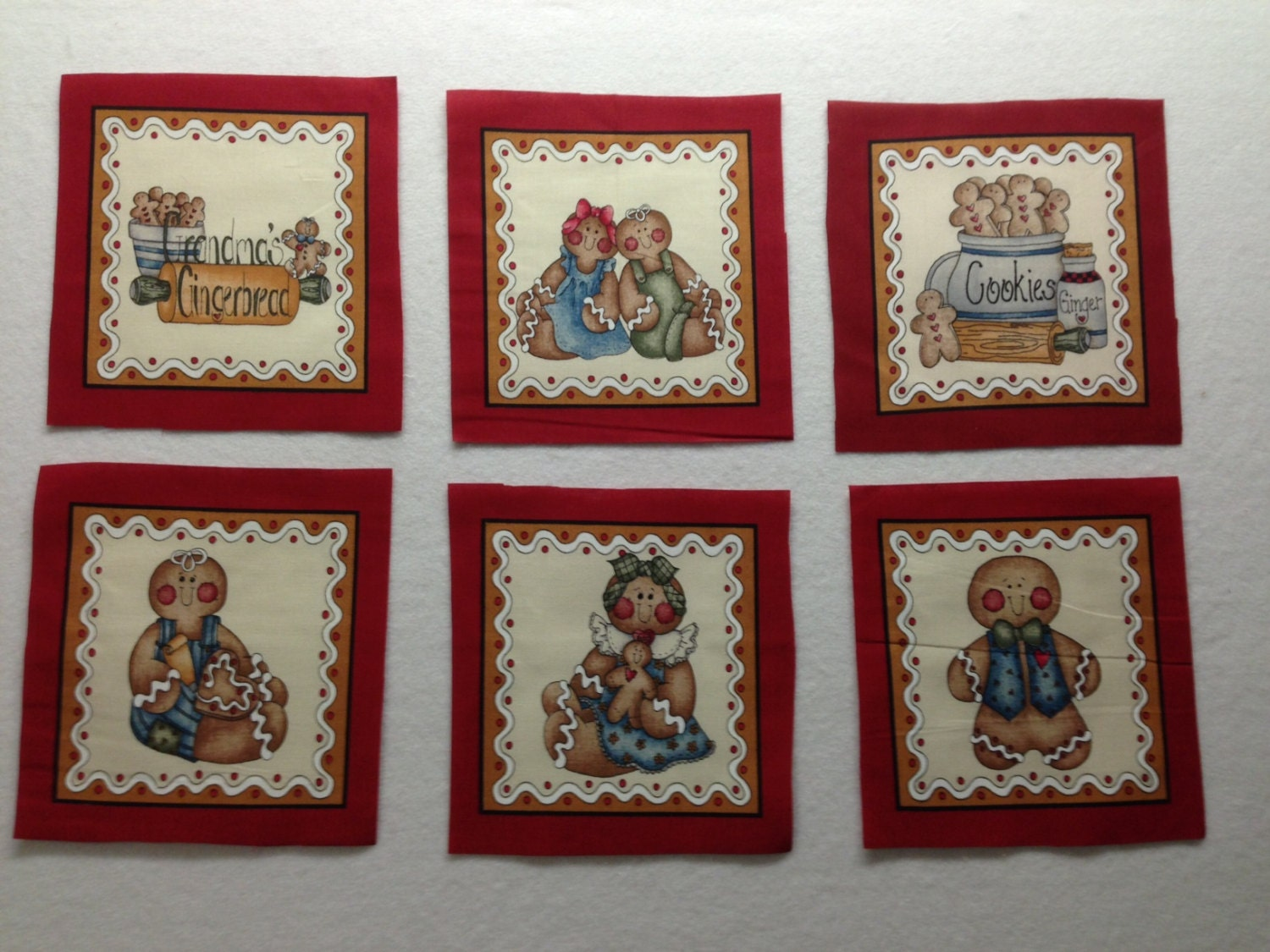Items similar to Gingerbread Quilt Squares - Vintage fabric - OOP on ...