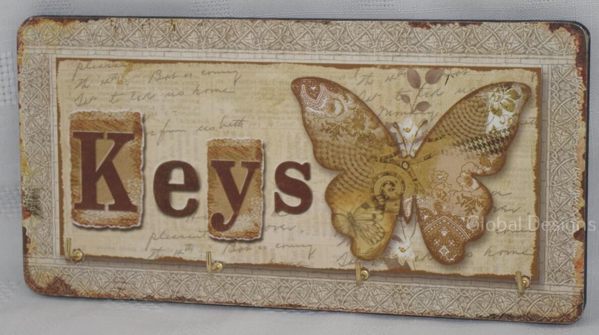 Butterfly Key Rack Keys Hooks Rack 4 Hooks Wooden Wall Decoration SG1751