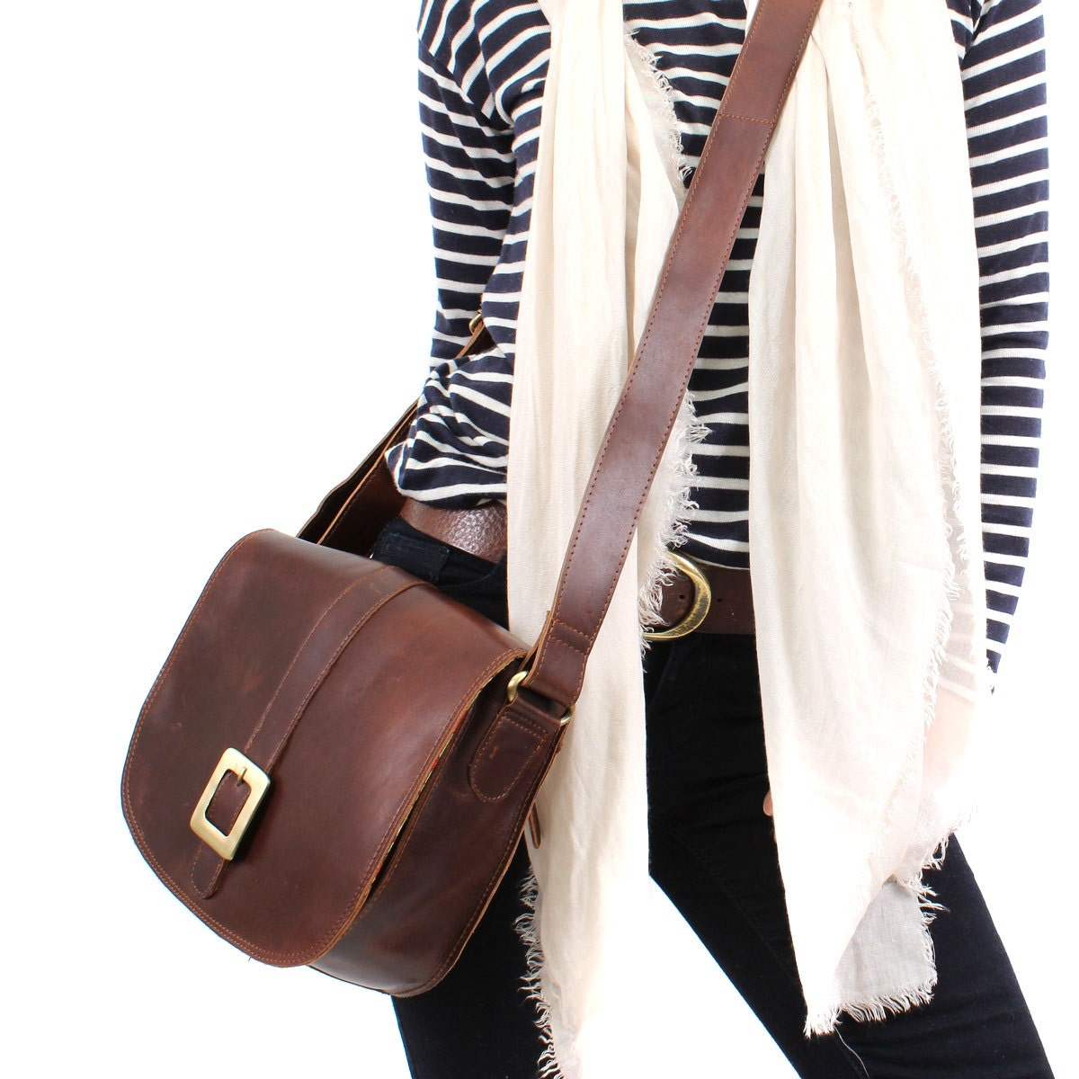 Leather Messenger Bag Cross Body Bag Handbag Brown