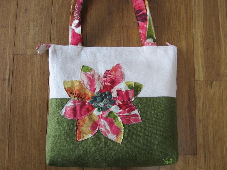Pink tote purse, Green tote bag, pink handbag, ladies purse, fabric bag, shopping tote, handmade purse, travel bag, womans purse, Tote bag - BerkshireCollections