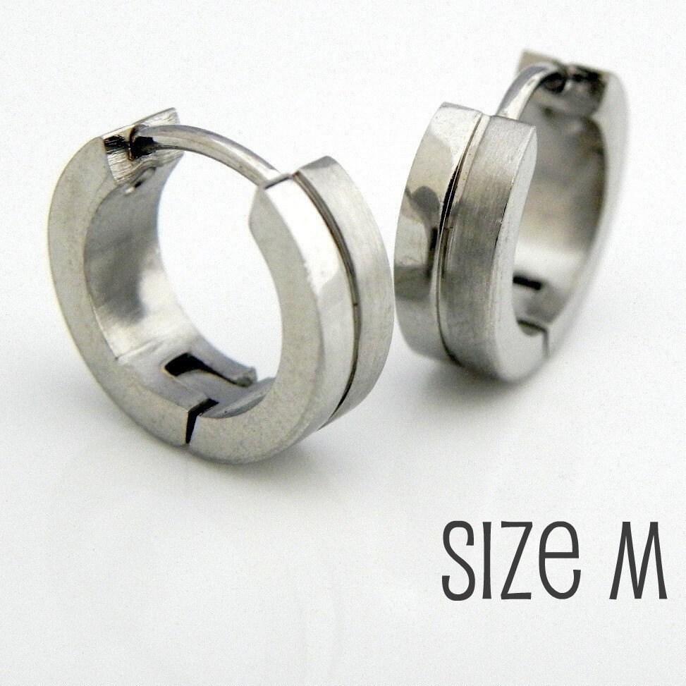 mens silver huggie hoop earrings ear cartilage by 360jewels