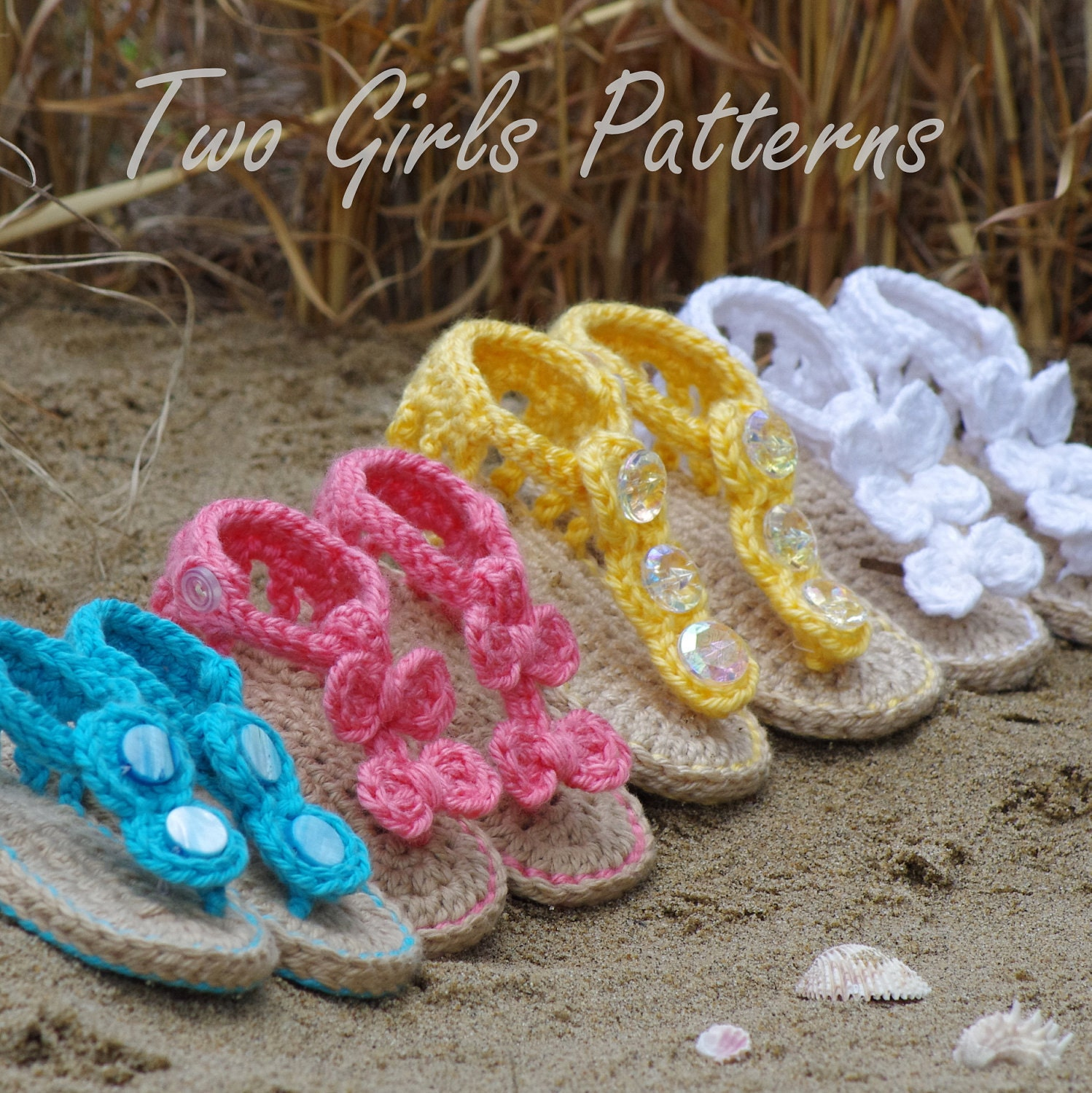 Baby crochet pattern sandal 2 Versions and by TwoGirlsPatterns