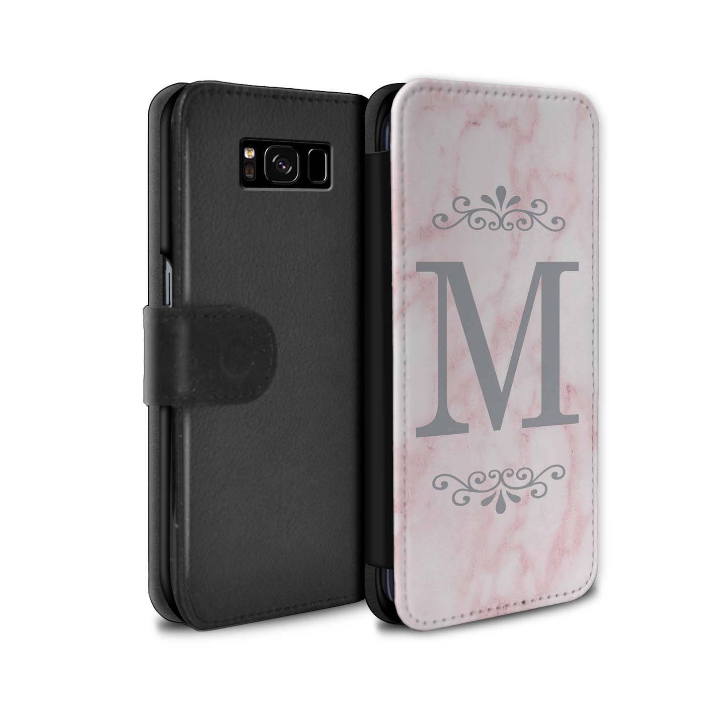 Pink Marble Silver Font Frame Personalized Custom Wallet Flip Phone Case Samsung Galaxy S5 S6 Edge S7 Edge S8 S8 Plus