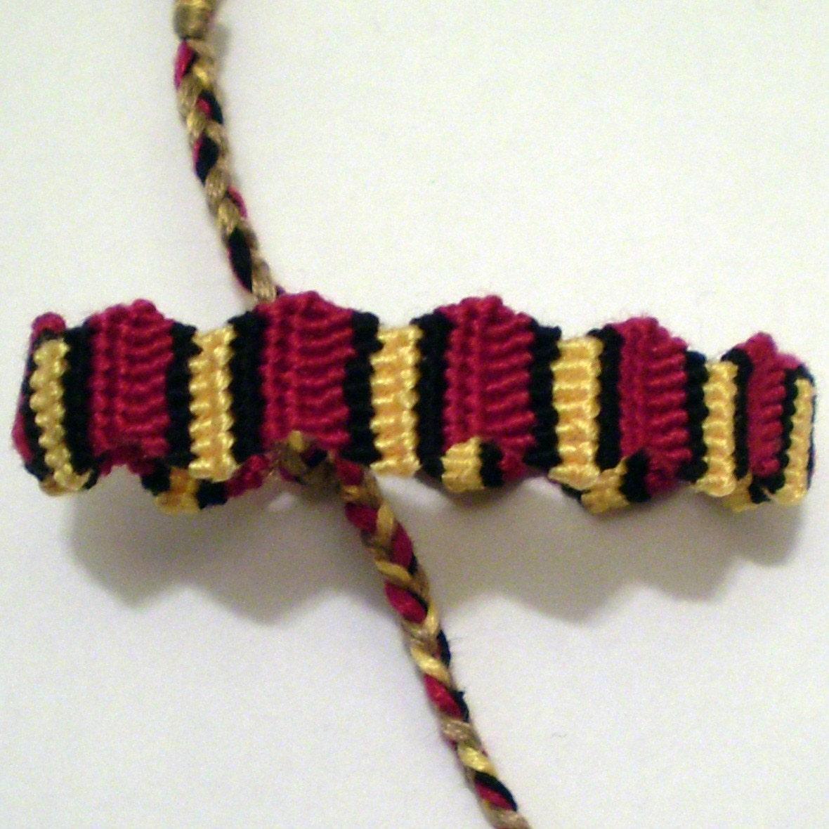 zig zag macrame friendship bracelet black yellow by