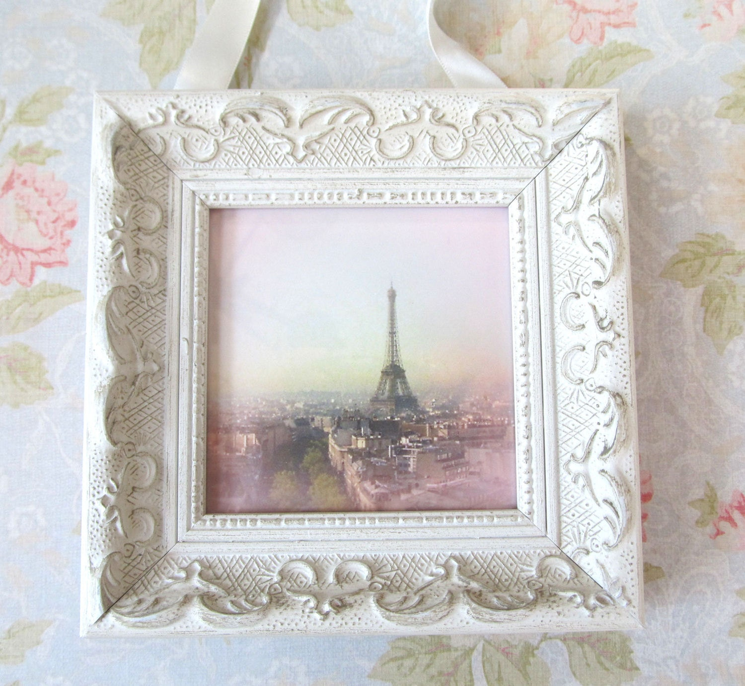 Pink paris photo with frame shabby chic decor by for Shabby chic wall art