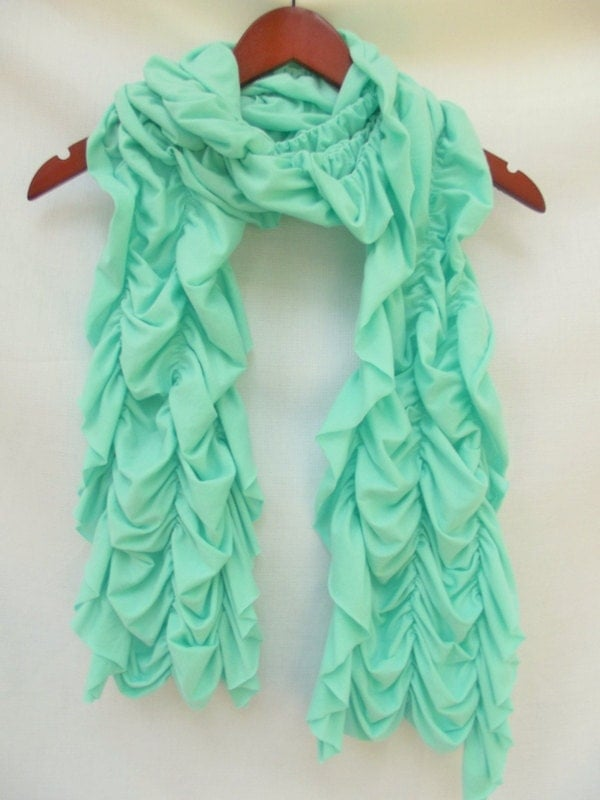 mint green scarf womans ruffled scarf by